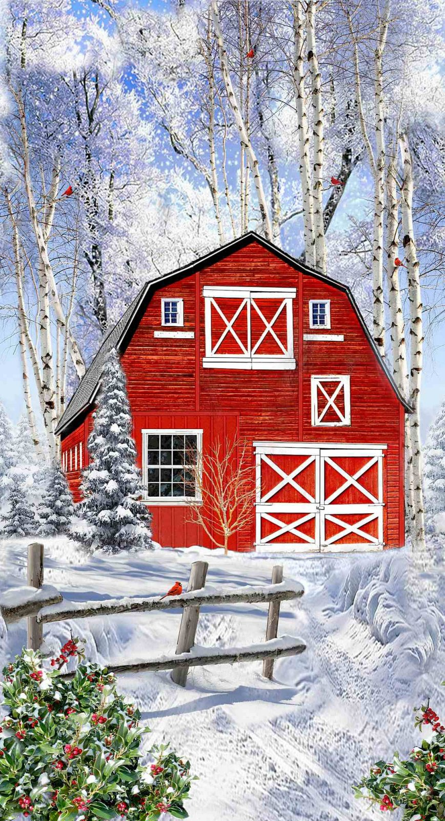 Winter Red Barn Quilt Panel by Timeless Treasures