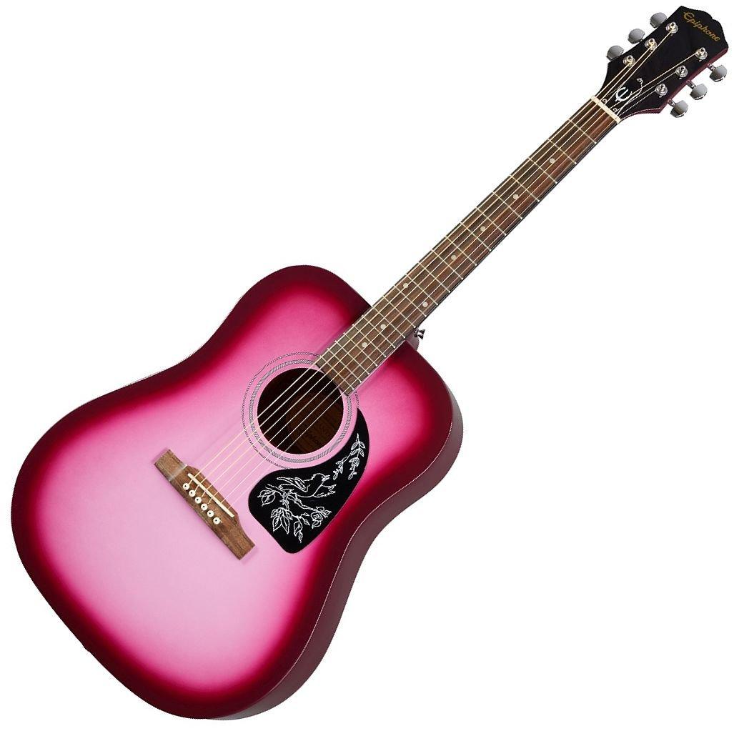 Epiphone Starling Square Shoulder 6-String RH Dreadnought Acoustic Guitar Hot Pink