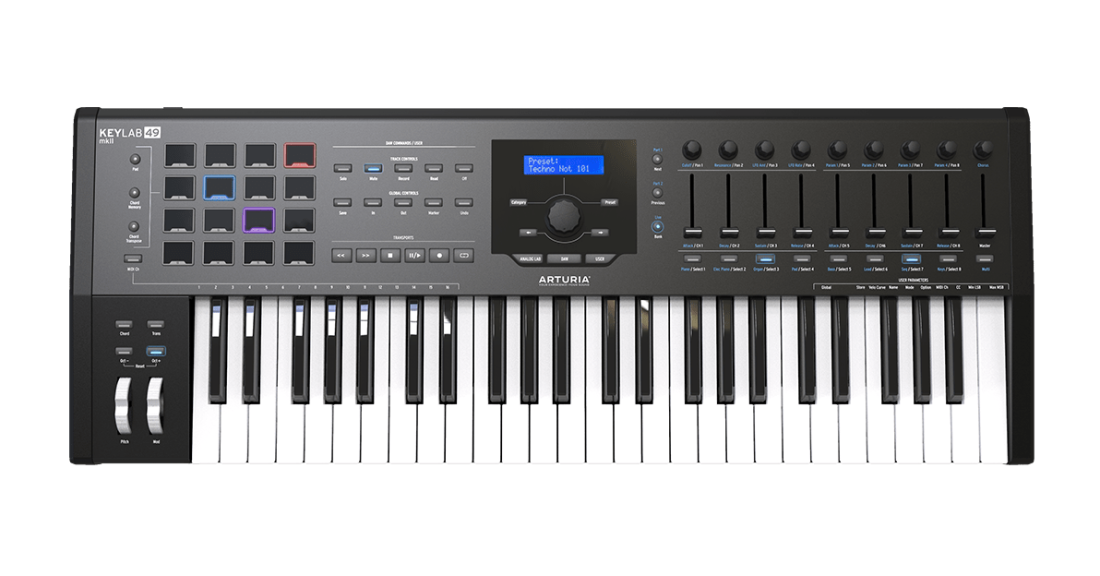 Arturia KeyLab MKII 49 Professional Keyboard Controller and Software - Black