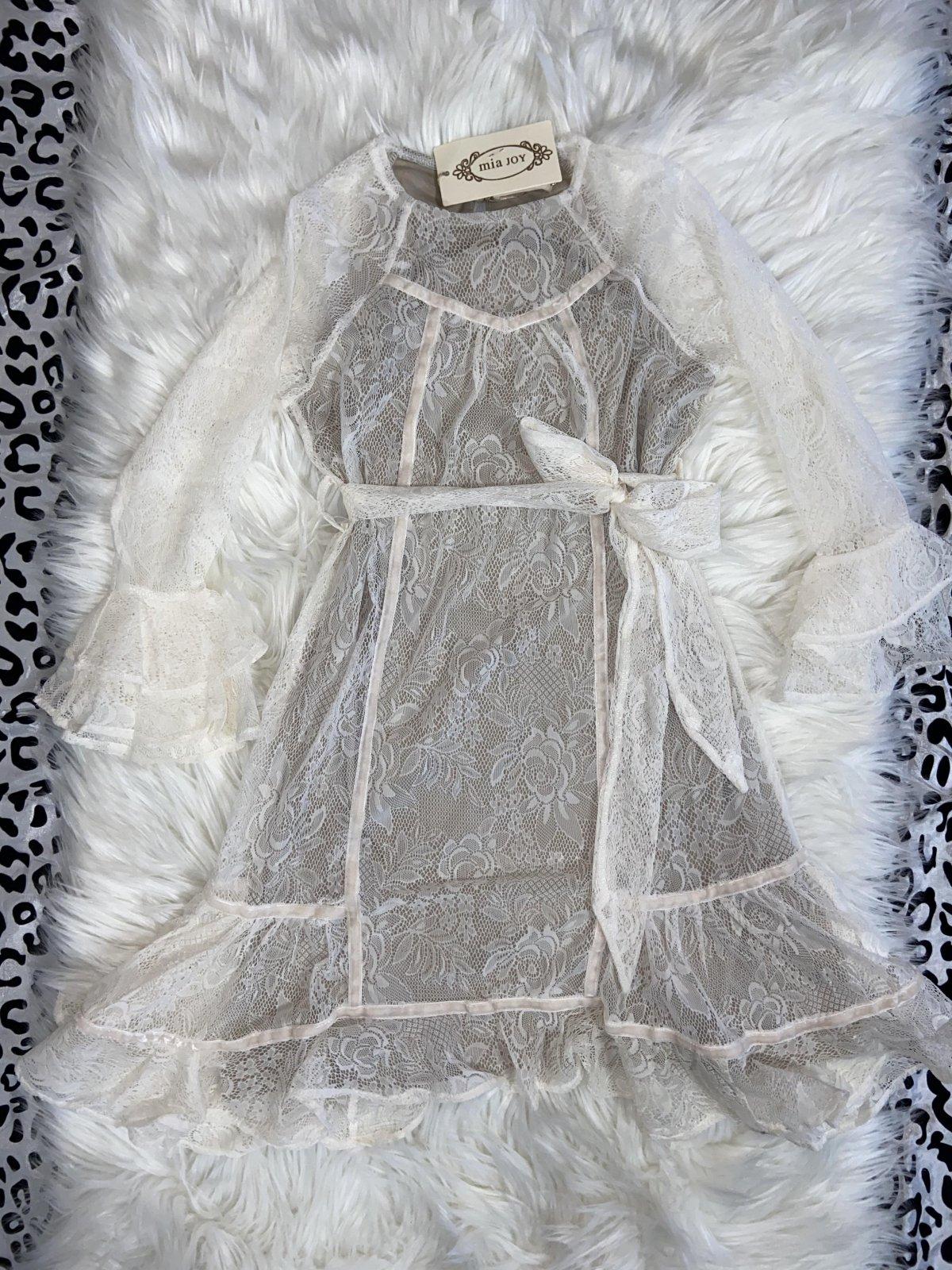 MIA JOY DRESS LS WHITE LACE SIZE 8