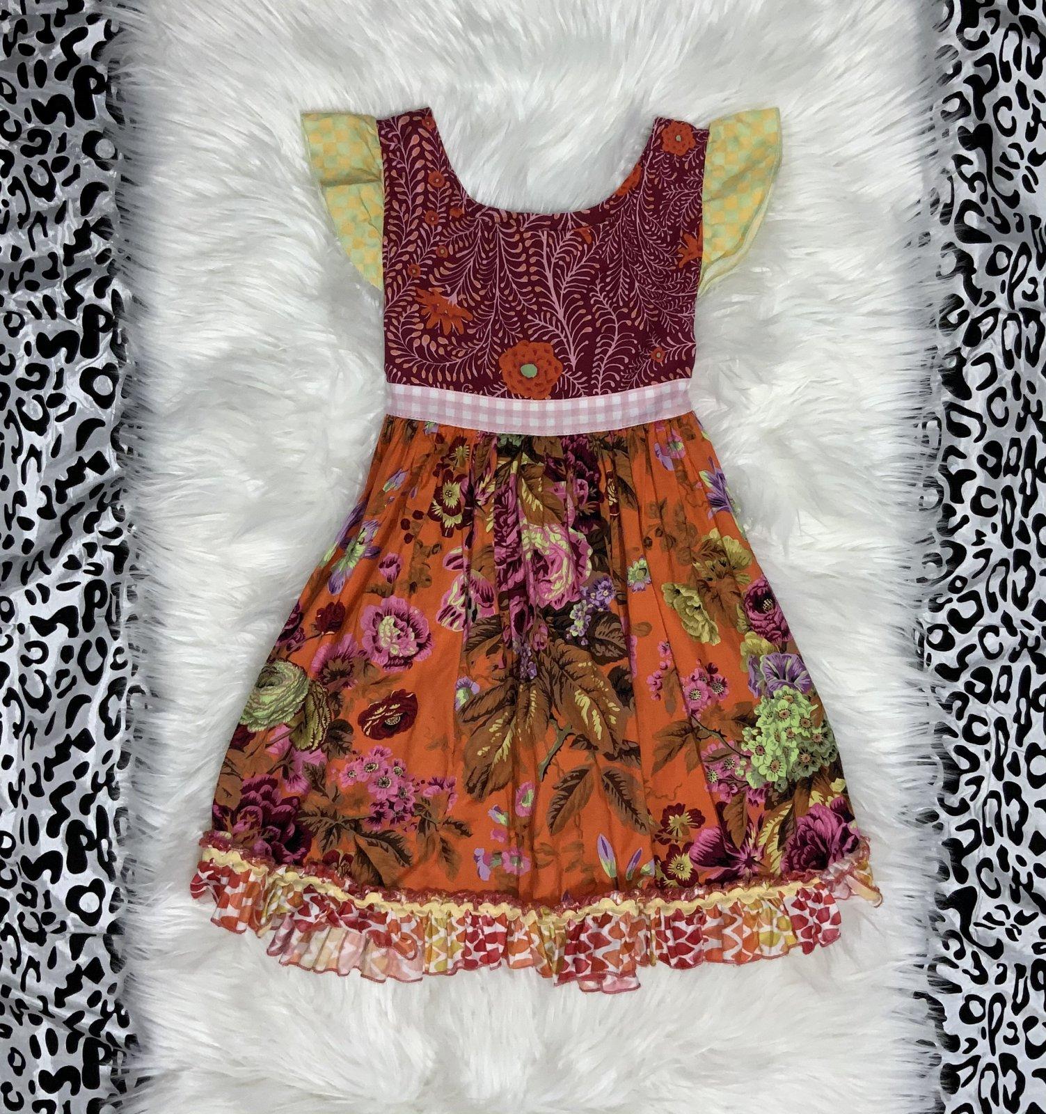 MATILDA JANE DRESS NS BURGANDY/ORANGE SIZE 8