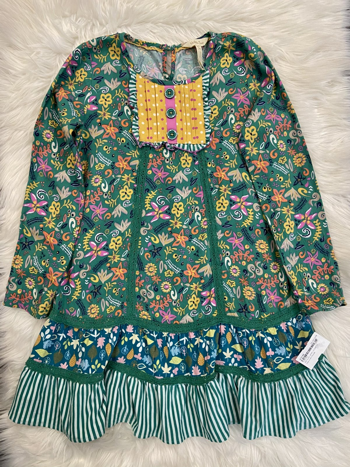 MATILDA JANE LS DRESS MULTI GREEN SIZE 8