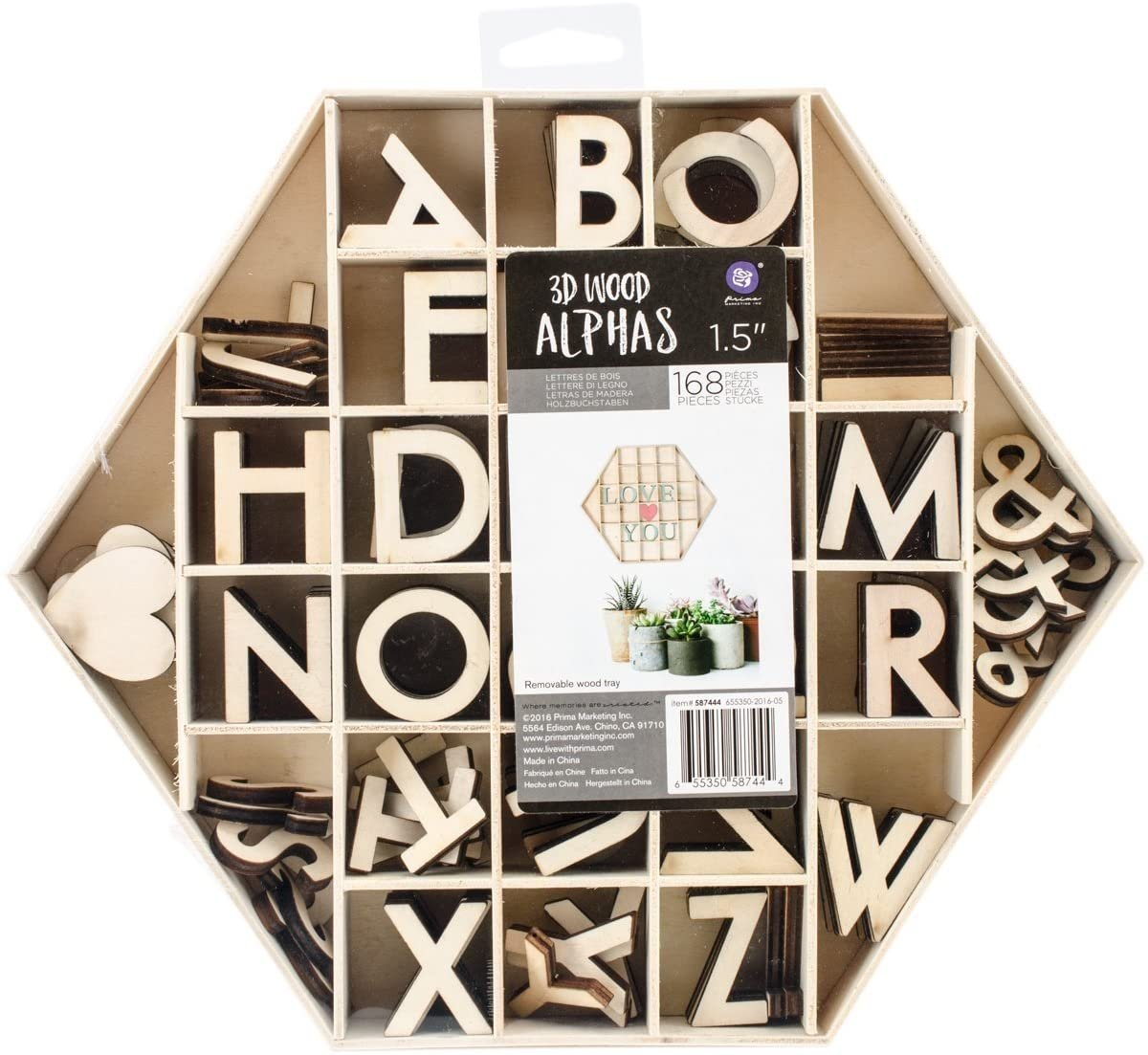 Prima Marketing 3D 1.5 Wood Letters and Shapes in Hexagon Shaped Box 168/Pkg