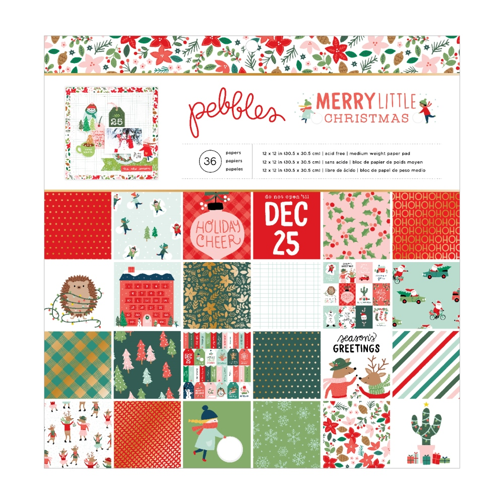12X12 Paper Pad, Merry Little Christmas (Gold Foil)