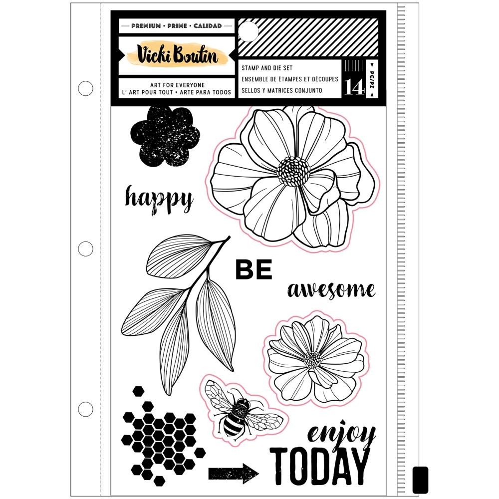 Clear Stamp & Die Set, Wildflower & Honey - Floral
