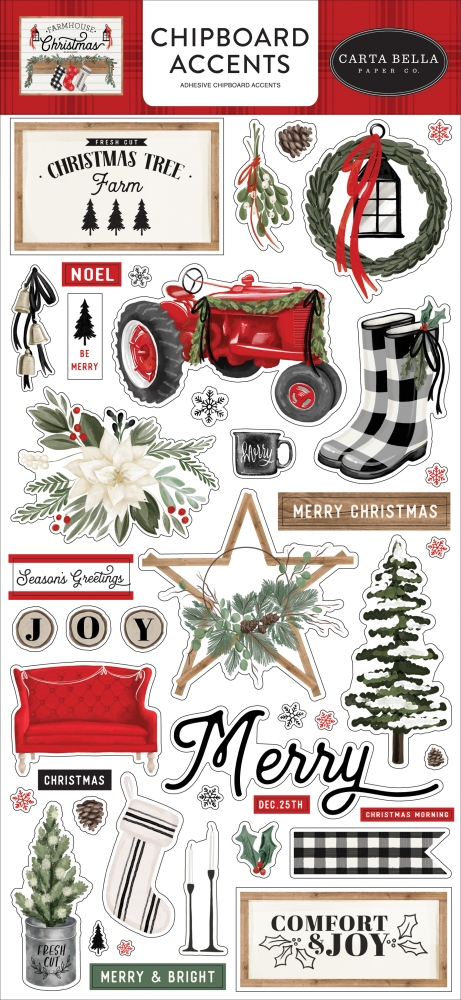 Chipboard Accents, Farmhouse Christmas