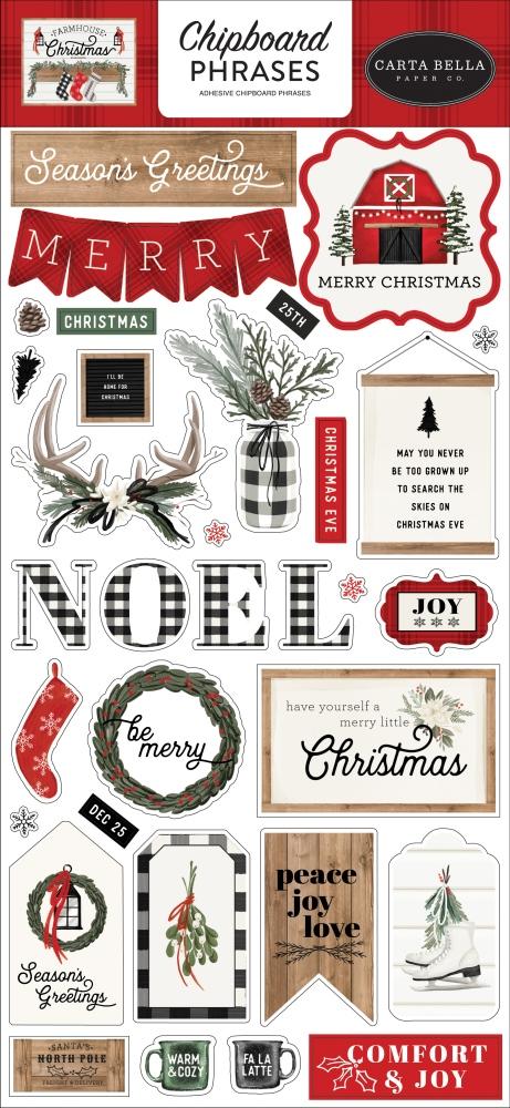Chipboard Phrases, Farmhouse Christmas