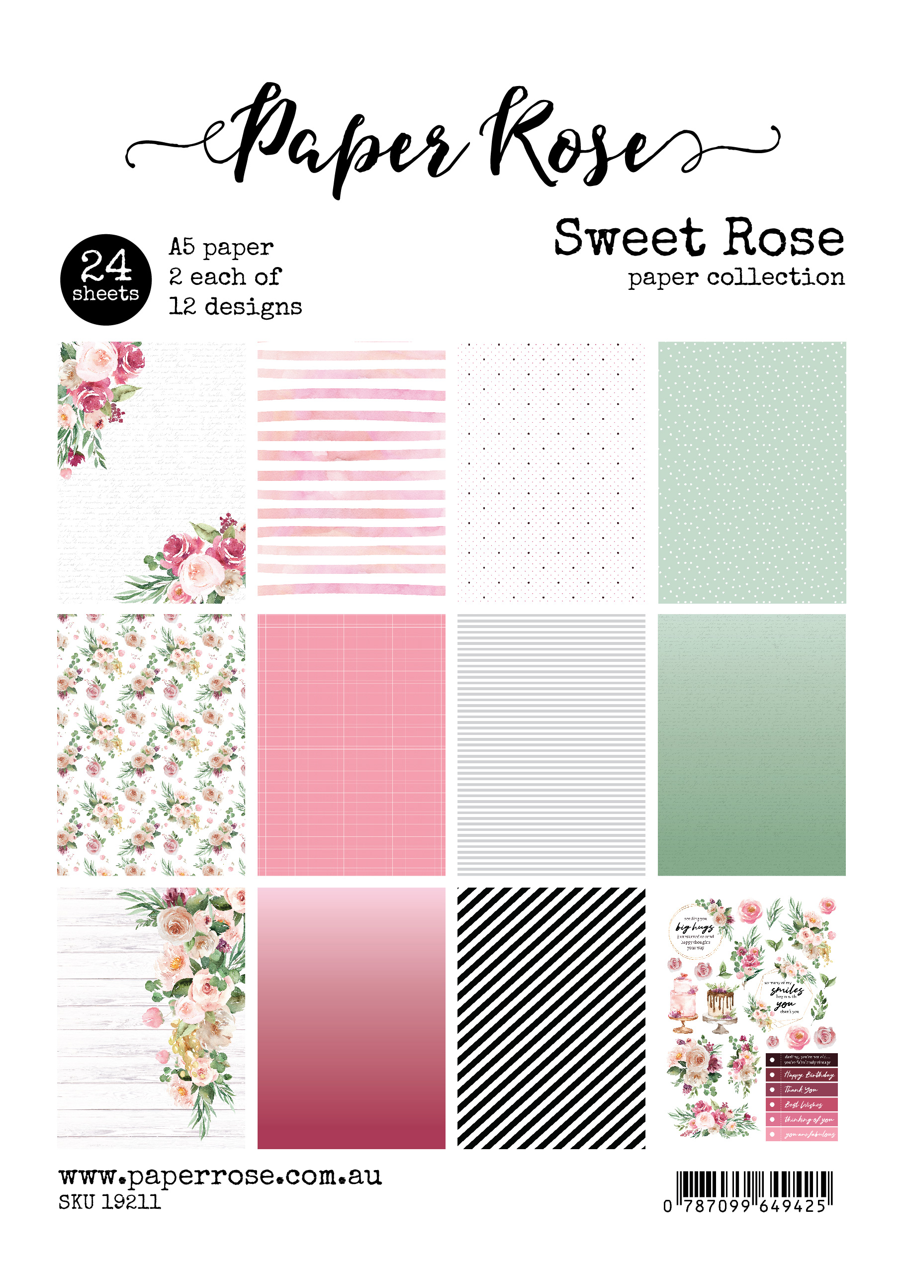 A5 Paper Pack, Sweet Rose