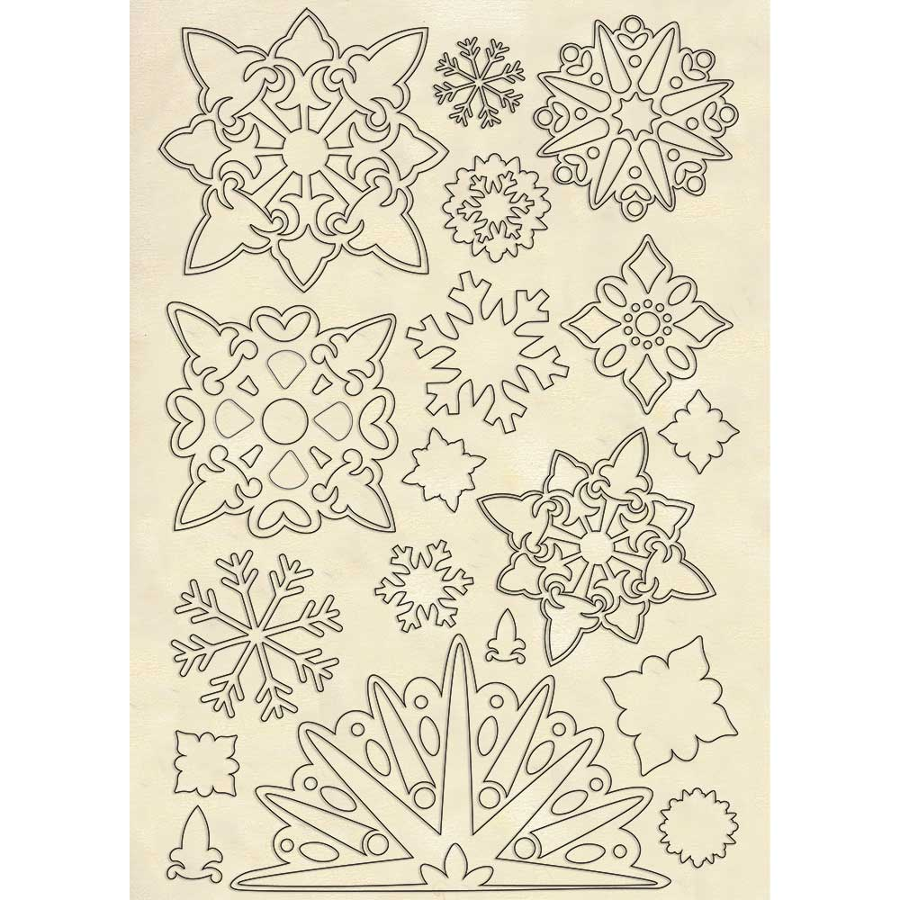 A5 Wooden Shapes, Winter Tales - Snowflakes