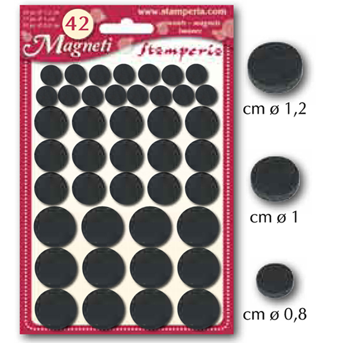 Magnets, Small Assorted (42pc, 0.8/1/1.2cm Diam.)