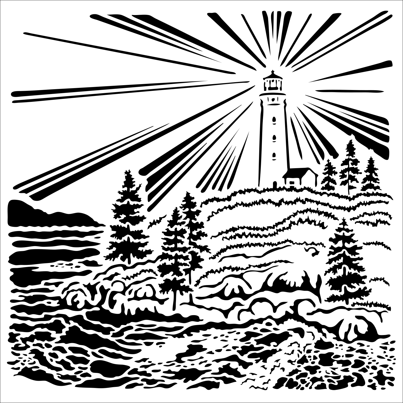 Stencil, 6x6, Lighthouse