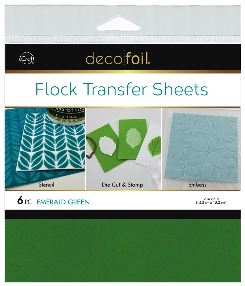6X6 Deco Foil Flock Transfer Sheets, Emerald Green