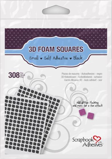 3D Foam Squares, Small Black