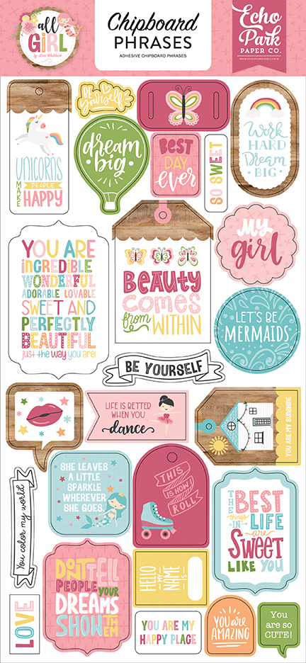 Chipboard Phrases, All Girl