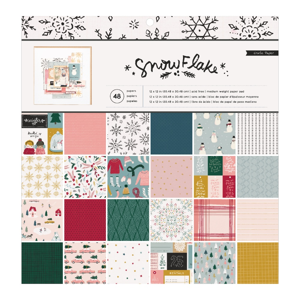 12X12 Paper Pad, Snowflake