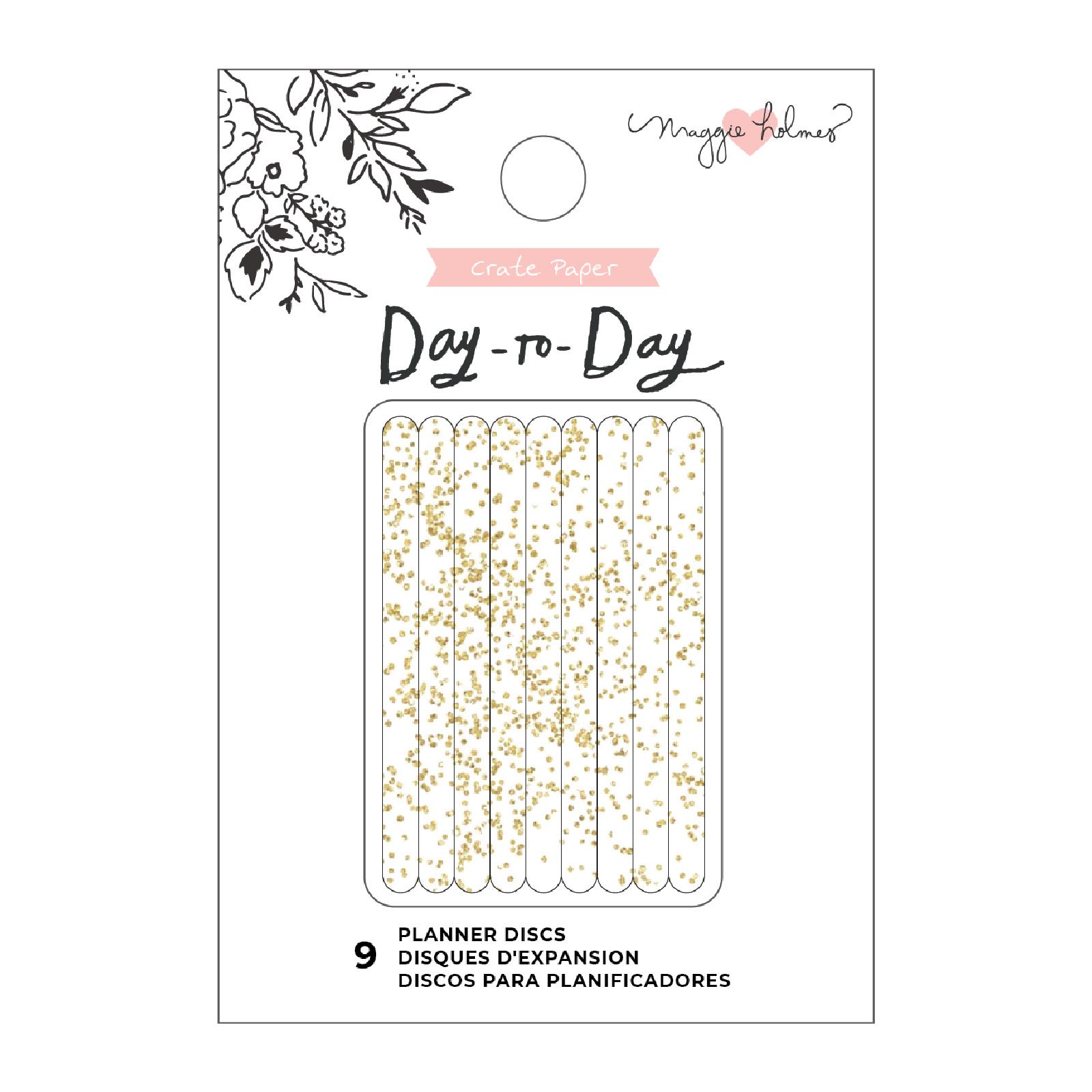 Planner Discs, Medium - Gold Glitter