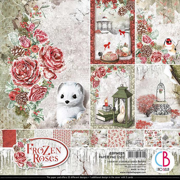 12X12 Paper Pad, Frozen Roses-