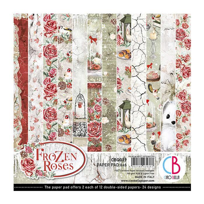 6X6 Paper Pad, Frozen Roses