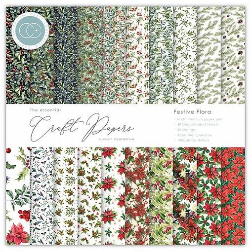 6X6 Essentials Paper Pad, Festive Flora