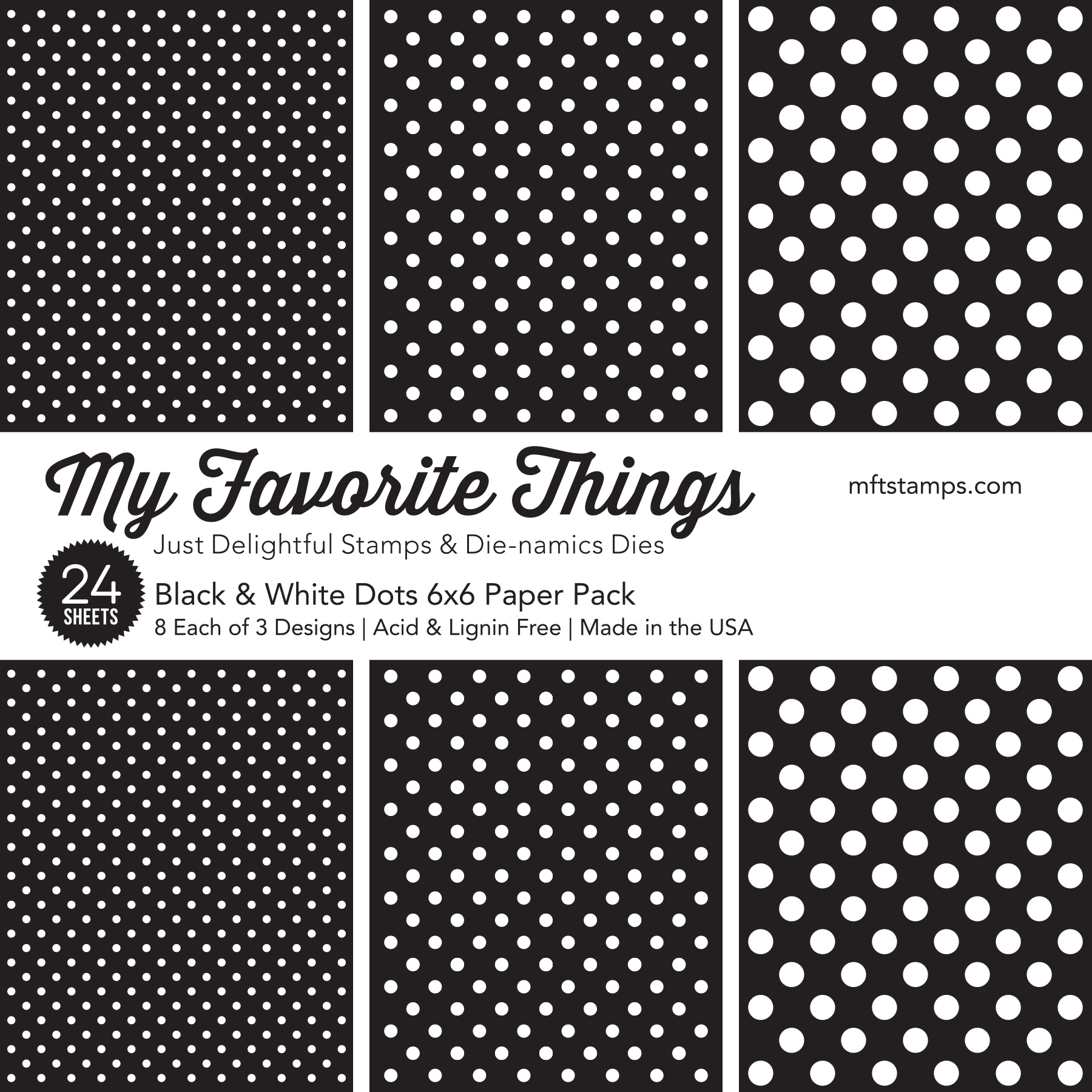 6X6 Paper Pad, Black & White Dots