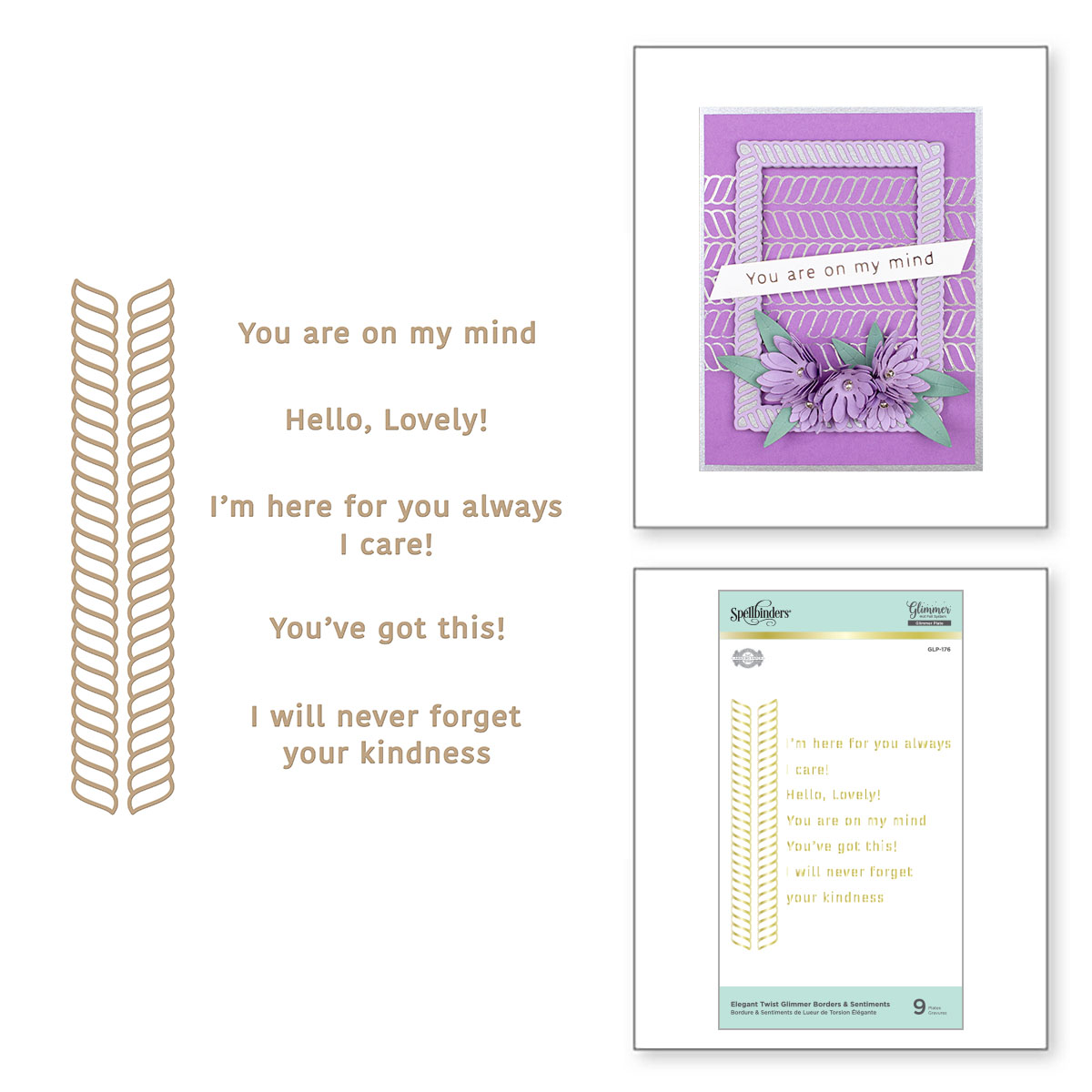 Glimmer Hot Foil Plate, Elegant Twist - Borders and Sentiments