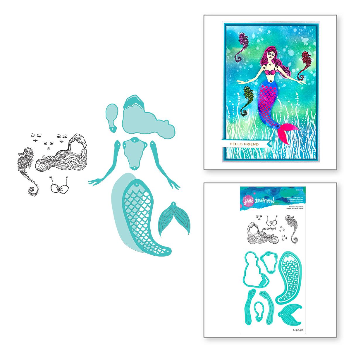 Clear Stamp & Die Set, Mermaid Paper Doll