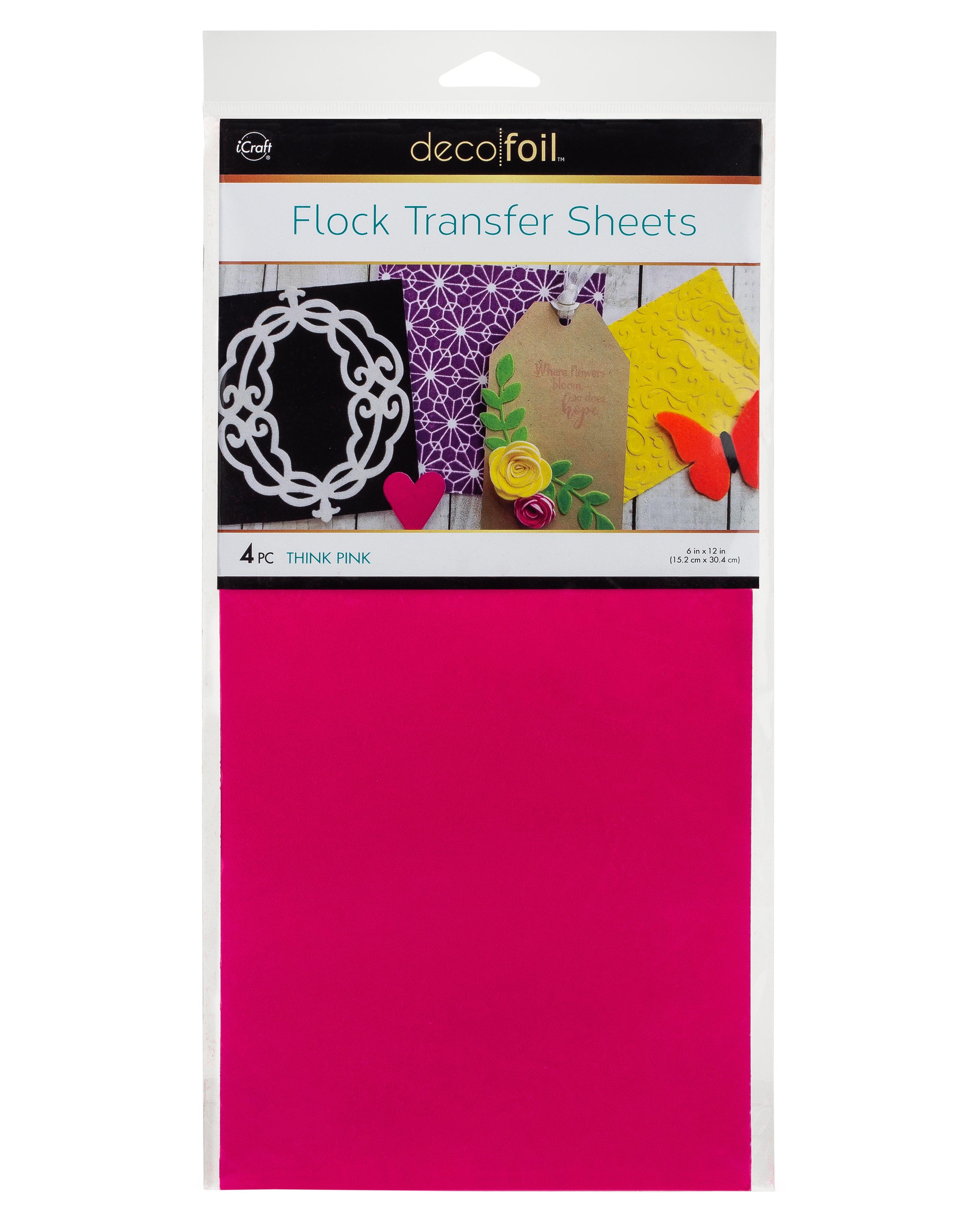 6X12 Deco Foil Flock Transfer Sheets, Think Pink