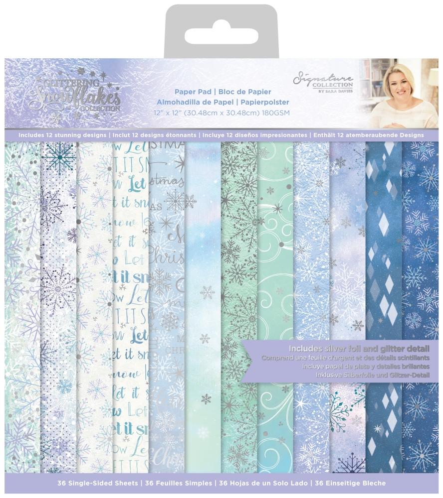 Sara Signature 12X12 Paper Pad, Glittering Snowflakes