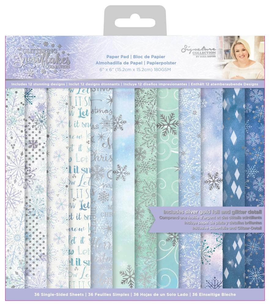 Sara Signature 6X6 Paper Pad, Glittering Snowflakes
