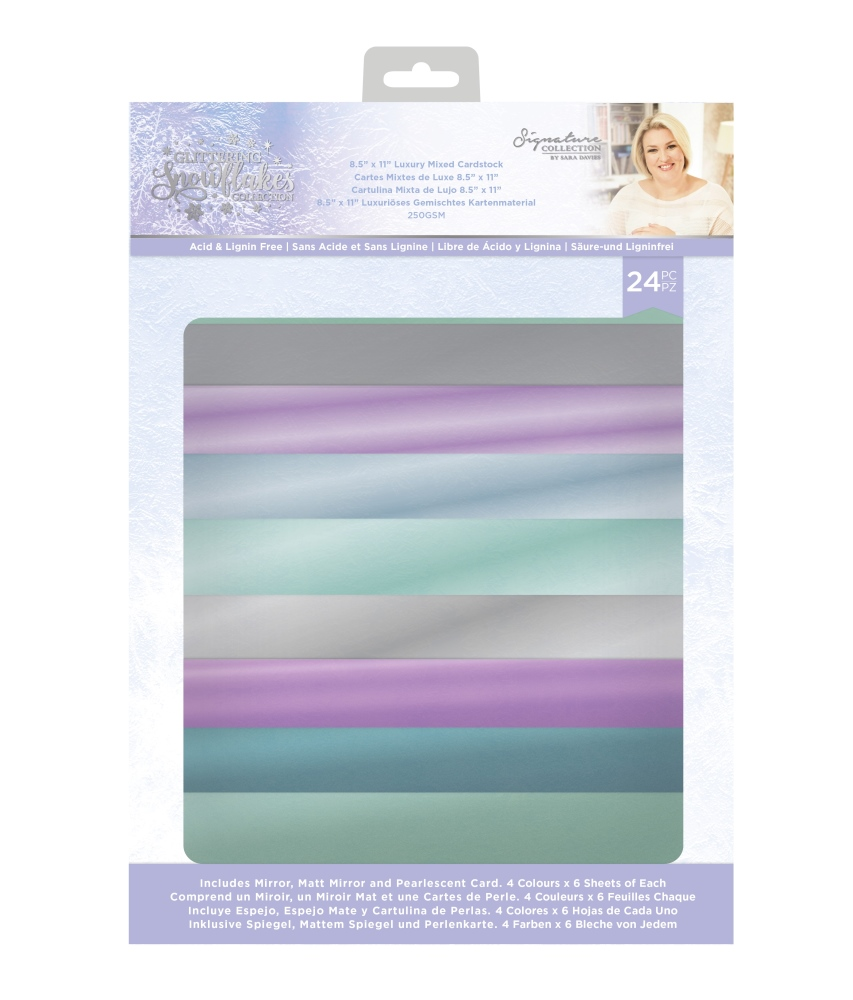 Sara Signature A4 Luxury Mixed Card Pack, Glittering Snowflakes