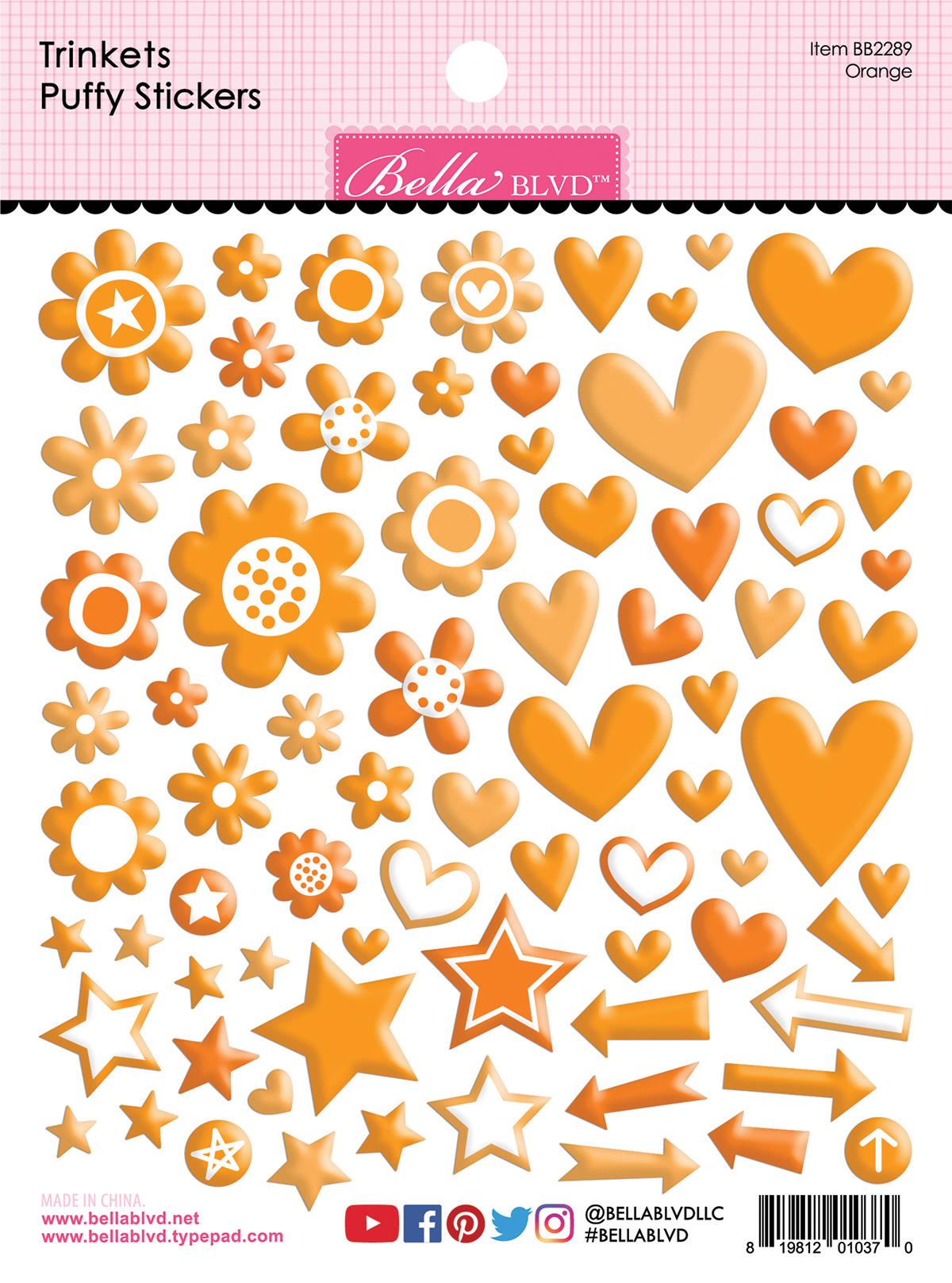 Puffy Stickers, Trinkets - Orange