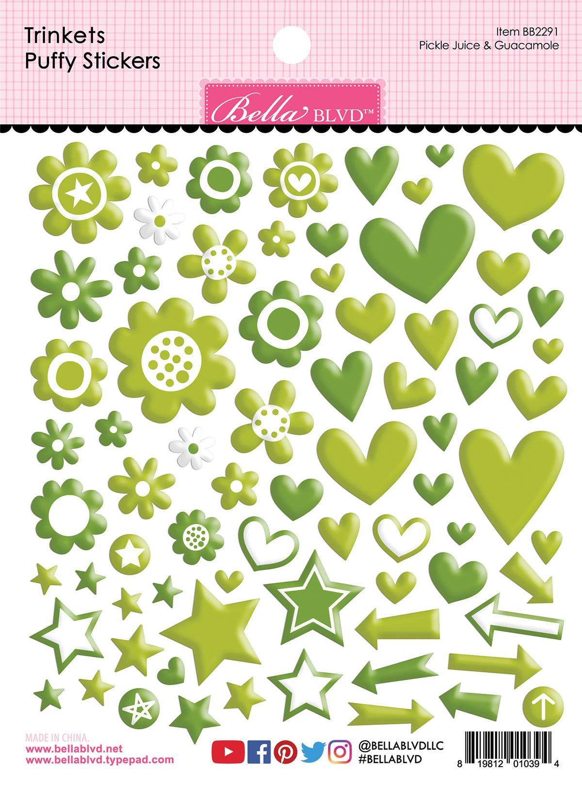 Puffy Stickers, Trinkets - Pickle Juice & Guacamole