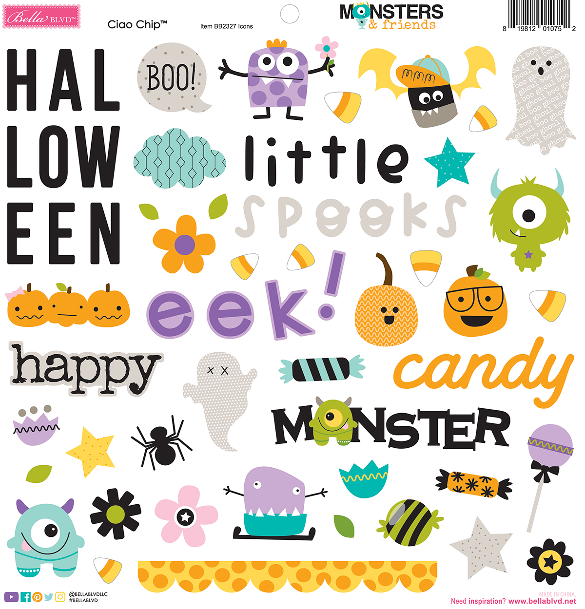 Chipboard Icons, Monsters & Friends Chipboard Icons (6 pc)