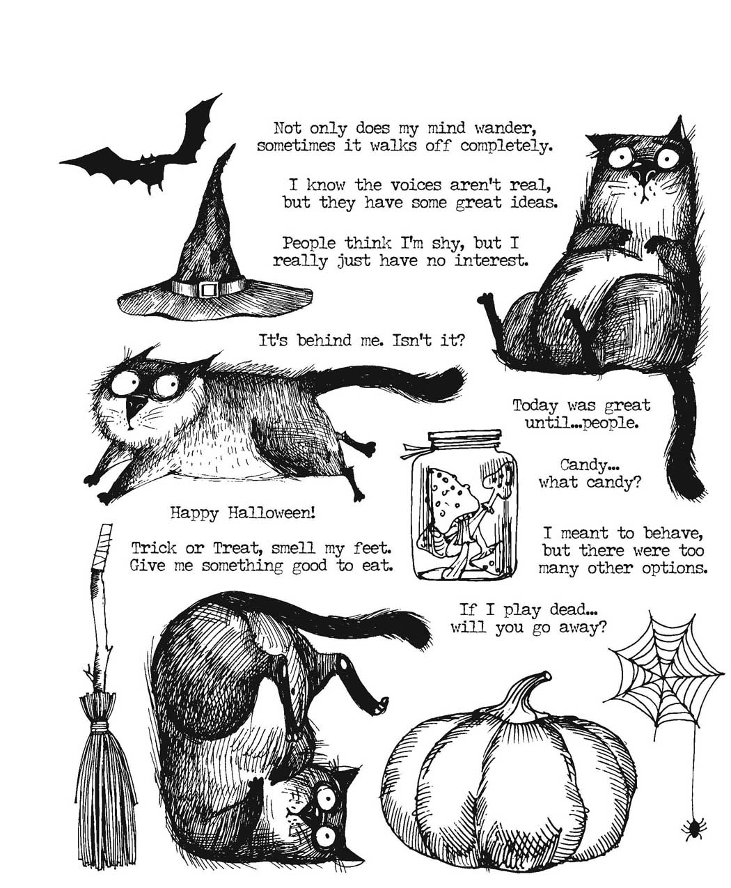 Cling Stamp, Snarky Cat Halloween