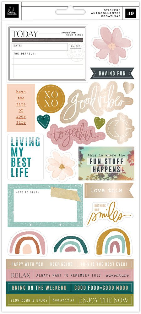 Cardstock Stickers, Care Free (Champagne Foil)