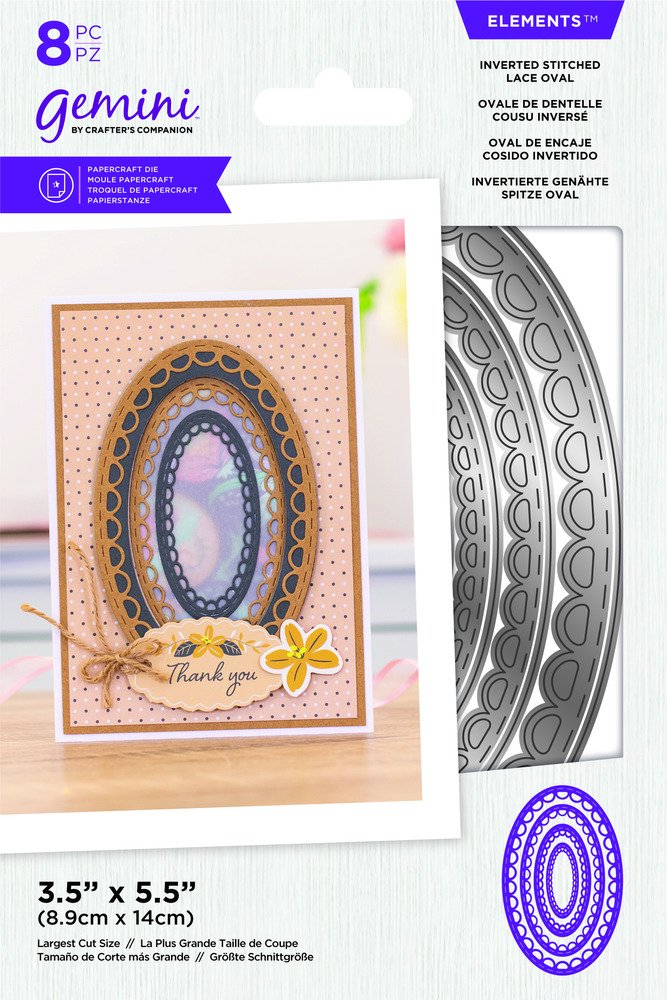 Gemini Elements Die, Inverted Stitched Lace Oval