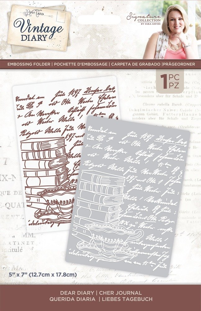 Sara Signature Embossing Folder, Vintage Diary - Dear Diary