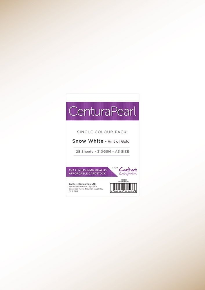 Centura A3 Pearl Card, Snow White - Hint of Gold
