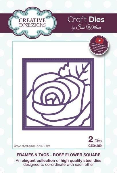 Creative Expressions Craft Dies By Sue Wilson-Frames & Tags-Rose Flower Square