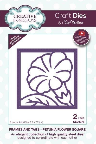 Creative Expressions Craft Dies By Sue Wilson-Frames & Tags-Petunia Flower Squar...