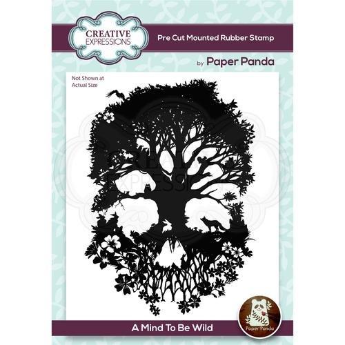Paper Panda A Mind To Be Wild 4.1 in x 5.6 in Pre Cut Rubber Stamp