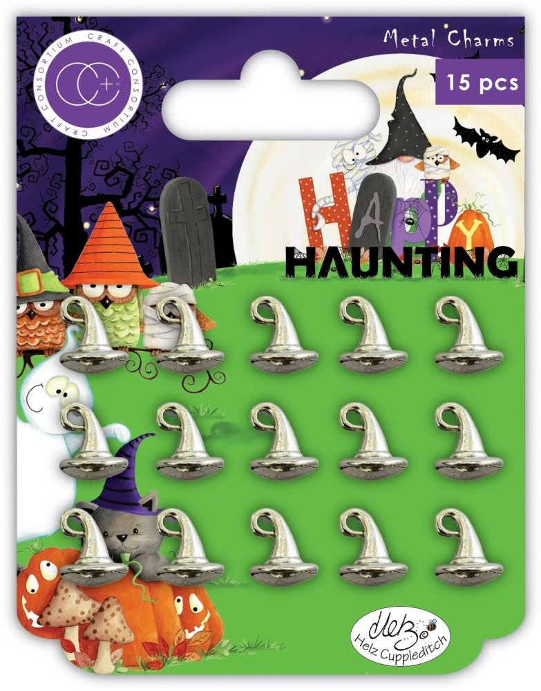 Metal Charms, Happy Haunting - Witches Hat