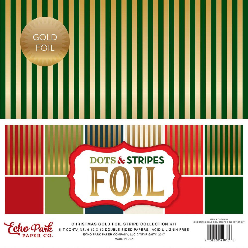 Echo Park Christmas Gold Foil Stripe Collection Kit