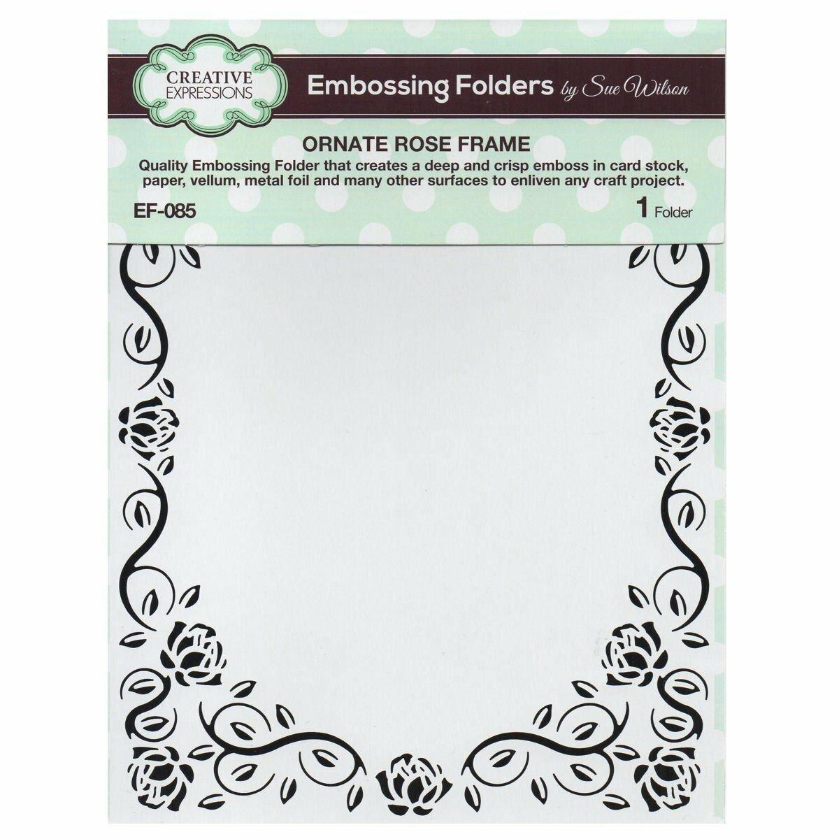 Creative Expressions Embossing Folder ~ Ornate Rose Frame, 5.3/4X7.5