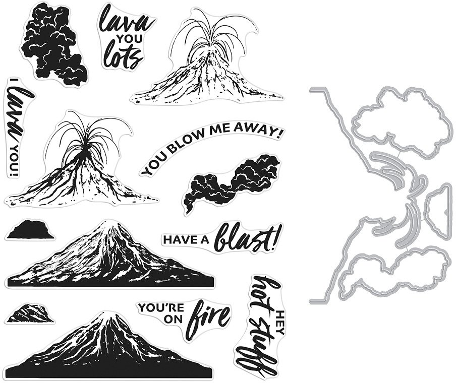 Clear Stamp & Die Combo, Volcano HeroScape
