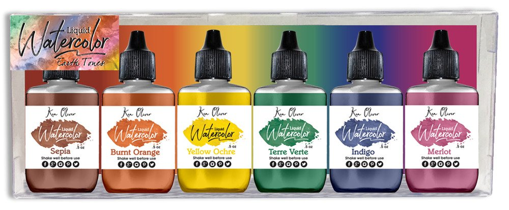 Liquid Water Color, Earth Tones (6 Pack)