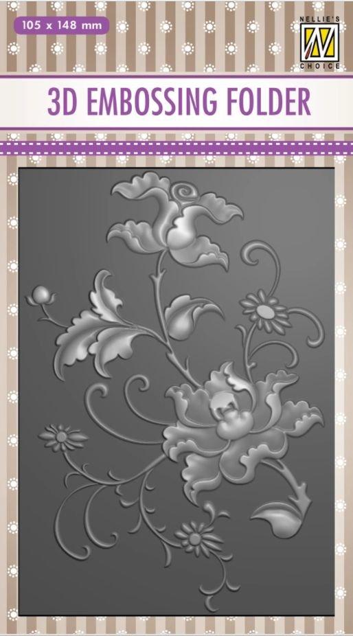 Nellie's Choice 3D Embossing Folder - Exotic Flower