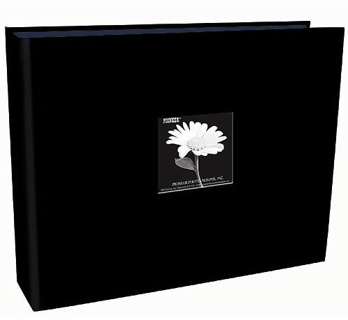 12X12 3-Ring Sewn Fabric Frame Scrapbook, Black