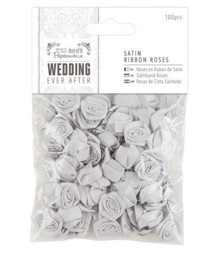 Satin Ribbon Roses - Silver
