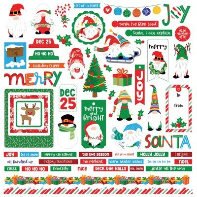 12X12 Element Sticker, Gnome for the Holidays: Christmas